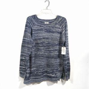 St. John's Bay blue white boat neck knit sweater